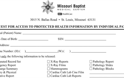 Image of a portion of Request Access Form for Missouri Baptist Medical Center